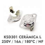 Termostato KSD301 250V - 16A - Cerâmica 180ºC - Normal: Fechado