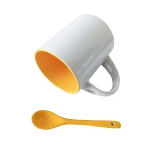 Caneca de Cerâmica Branca com Interior Colorido com Colher para Sublimação | Amarela