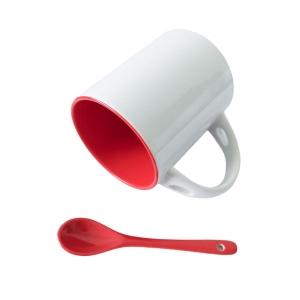 Caneca de Cerâmica Branca com Interior Colorido com Colher para Sublimação | Vermelho