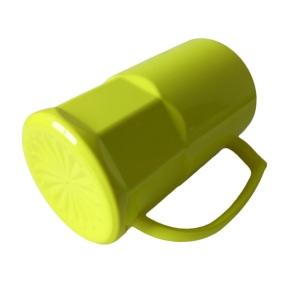 Caneca de Chopp de Plástico Polímero com Base Trabalhada 500ml para Sublimação   Amarela