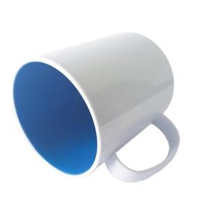 Caneca de Plástico Polímero 360ml Branca com Interior Colorido para Sublimação (ADP)   Azul Royal