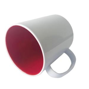 Caneca de Plástico Polímero 360ml Branca com Interior Colorido para Sublimação (ADP) | Vermelha