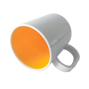 Caneca de Plástico Polímero 360ml Branca com Interior Colorido para Sublimação (SFCT) | Amarelo