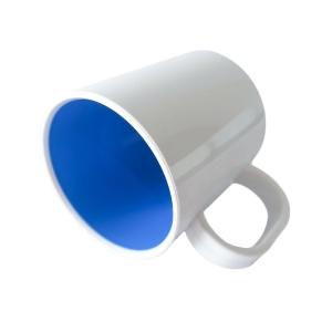 Caneca de Plástico Polímero 360ml Branca com Interior Colorido para Sublimação (SFCT) | Azul Escuro