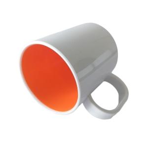 Caneca de Plástico Polímero 360ml Branca com Interior Colorido para Sublimação (SFCT)   Laranja