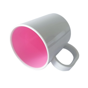Caneca de Plástico Polímero 360ml Branca com Interior Colorido para Sublimação (SFCT) | Rosa