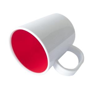 Caneca de Plástico Polímero 360ml Branca com Interior Colorido para Sublimação (SFCT)   Vermelho