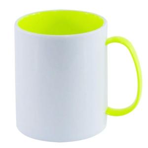 Caneca de Plástico Polímero 360ml Branca com Interior e Alça Colorido para Sublimação (ADP 140g) | Amarelo Neon