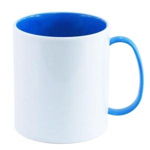 Caneca de Plástico Polímero 360ml Branca com Interior e Alça Colorido para Sublimação (ADP 140g)   Azul Royal