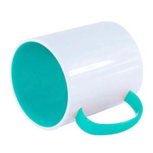 Caneca de Plástico Polímero 360ml Branca com Interior e Alça Colorido para Sublimação (ADP 140g)   Azul Turquesa