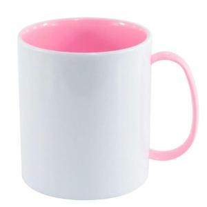 Caneca de Plástico Polímero 360ml Branca com Interior e Alça Colorido para Sublimação (ADP 140g) | Rosa BB
