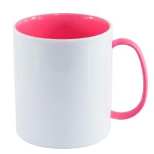 Caneca de Plástico Polímero 360ml Branca com Interior e Alça Colorido para Sublimação (ADP 140g) | Rosa Chiclete