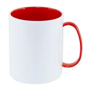 Caneca de Plástico Polímero 360ml Branca com Interior e Alça Colorido para Sublimação (ADP 140g) | Vermelha