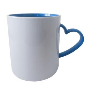 Caneca de Plástico Polímero 360ml Branca com Interior e Alça Coração Colorido para Sublimação (ADP) | Azul Royal