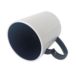 Caneca de Plástico Polímero 360ml Branca com Interior e Alça Coração Colorido para Sublimação (ADP) | Preta