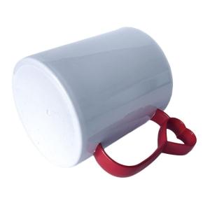 Caneca de Plástico Polímero 360ml Branca com Interior e Alça Coraçãozinho Colorido para Sublimação (ADP)   Vermelha
