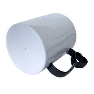 Caneca de Plástico Polímero 360ml Branca com Interior e Alça Coraçãozinho Colorido para Sublimação (ADP)   Preta