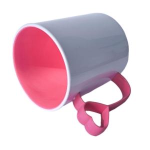 Caneca de Plástico Polímero 360ml Branca com Interior e Alça Coraçãozinho Colorido para Sublimação (ADP) | Rosa Chiclete