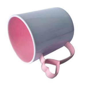 Caneca de Plástico Polímero 360ml Branca com Interior e Alça Coraçãozinho Colorido para Sublimação (ADP) | Rosa BB