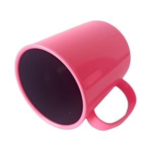 Caneca de Plástico Polímero 360ml Colorida com Interior Preto para Sublimação (ADP 140g)   Rosa Chiclete