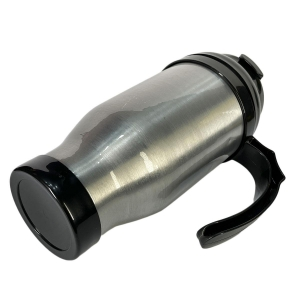 Caneca Térmica 450ml de Alumínio Prata para Sublimação | Tampa/Alça/Base: Preta