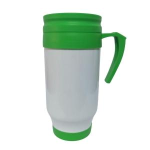 Caneca Térmica 450ml de Polímero Branco para Sublimação (SFCT) | Tampa/Alça/Base: Verde