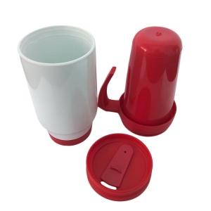 Caneca Térmica 450ml de Polímero Branco para Sublimação (SFCT)   Tampa/Alça/Base: Vermelha