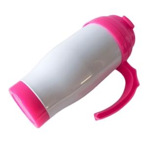 Caneca Térmica 450ml de Polímero Branco para Sublimação   Tampa/Alça/Base: Rosa