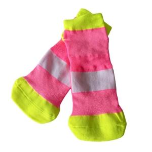 Meia Antiderrapante Pro Pilates com Tarja Branca para Sublimação   Tamanho GG - 34 a 38   Rosa com Amarelo (SE)