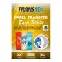 PAPEL TRANSFER LASER TRANSFIX BACK WHITE FUNDO BRANCO 90G/M² - A4 (210X297MM) - PACOTE C/ 50 FOLHAS