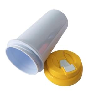 Squeeze de Plástico Polímero 550ml Branco com Tampa Colorida para Sublimação (ADP) | Amarela
