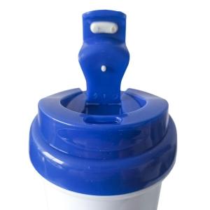 Squeeze de Plástico Polímero 550ml Branco com Tampa Colorida para Sublimação (ADP)   Azul Royal