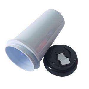 Squeeze de Plástico Polímero 550ml Branco com Tampa Colorida para Sublimação (ADP)   Preta
