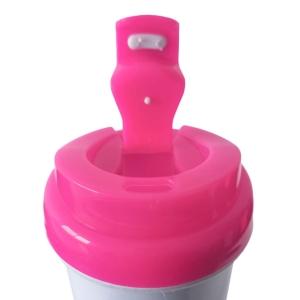Squeeze de Plástico Polímero 550ml Branco com Tampa Colorida para Sublimação (ADP)   Rosa