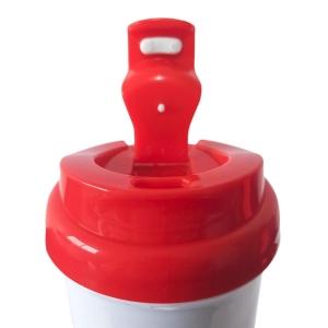 Squeeze de Plástico Polímero 550ml Branco com Tampa Colorida para Sublimação (ADP) | Vermelha