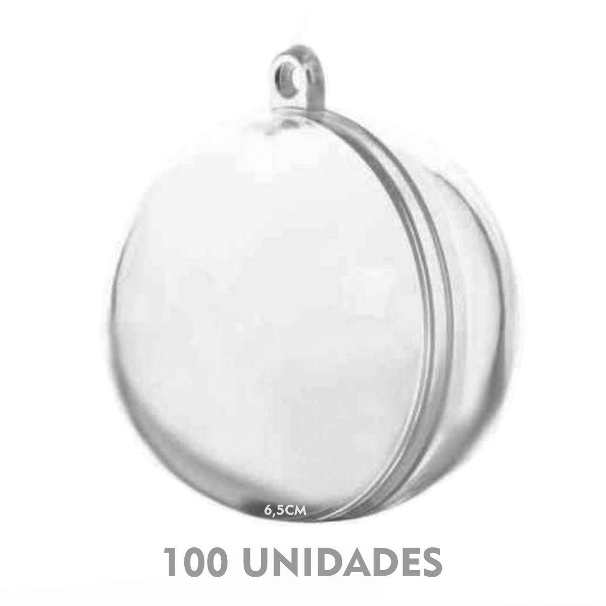 BOLA ACRÍLICA ESFERA 6,5CM PARA PERSONALIZAR - PACOTE COM 100 UNIDADES