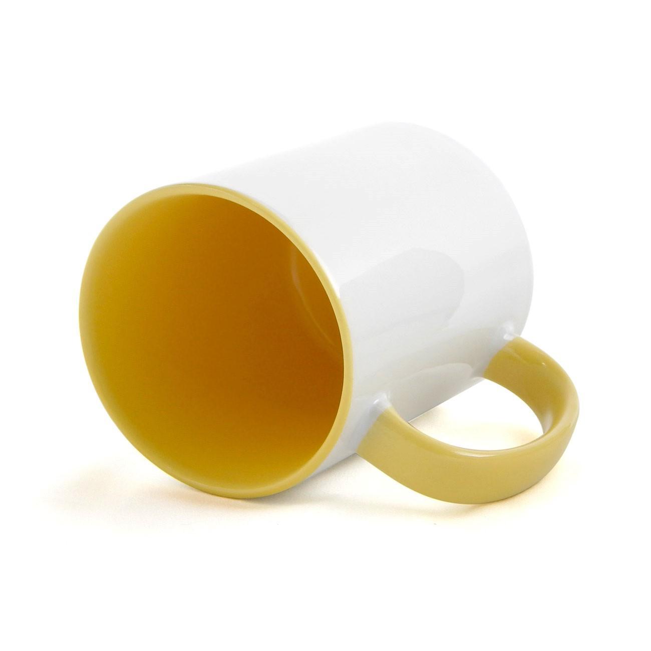 Caneca de Cerâmica Branca com Interior e Alça Colorida para Sublimação - Amarela