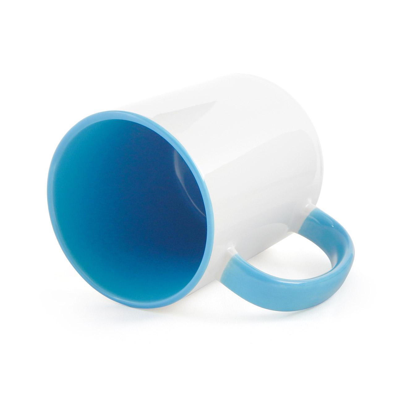 Caneca de Cerâmica Branca com Interior e Alça Colorida para Sublimação - Azul Claro