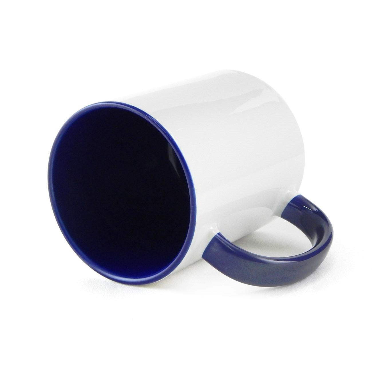 Caneca de Cerâmica Branca com Interior e Alça Colorida para Sublimação - Azul Escuro