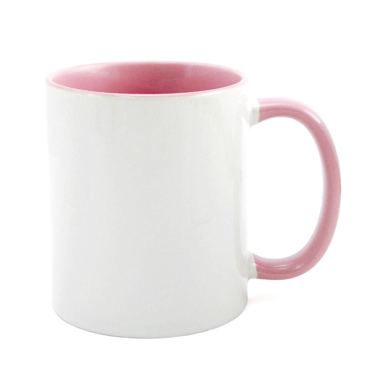 Caneca de Cerâmica Branca com Interior e Alça Colorida para Sublimação - Rosa