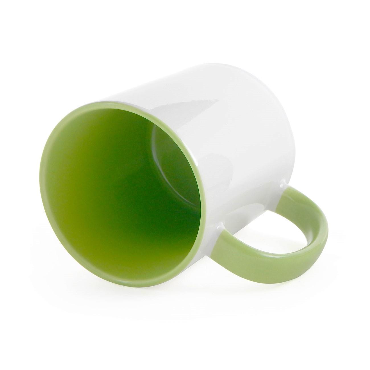 Caneca de Cerâmica Branca com Interior e Alça Colorida para Sublimação - Verde Claro