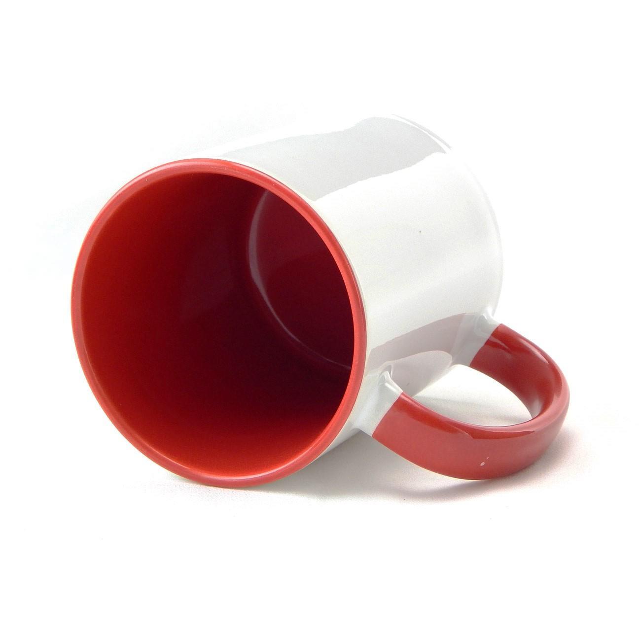 Caneca de Cerâmica Branca com Interior e Alça Colorida para Sublimação - Vermelha