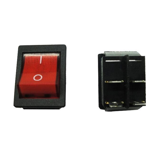 Chave Liga/Desliga 4 Pólos Gangorra | 16A-250V / 20A-125V (Vermelha com Led)