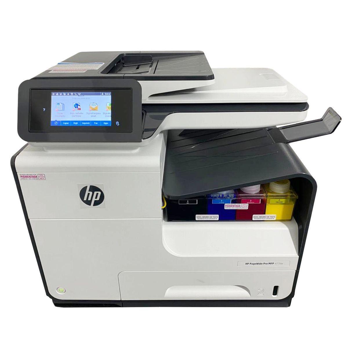 IMPRESSORA MULTIFUNCIONAL HP OFFICEJET PRO 477DW COM BULK INK INSTALADO TINTA PIGMENTADA
