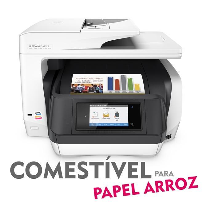 IMPRESSORA MULTIFUNCIONAL HP OFFICEJET PRO 8720 COM BULK INK INSTALADO - TINTA COMESTÍVEL PARA PAPEL ARROZ
