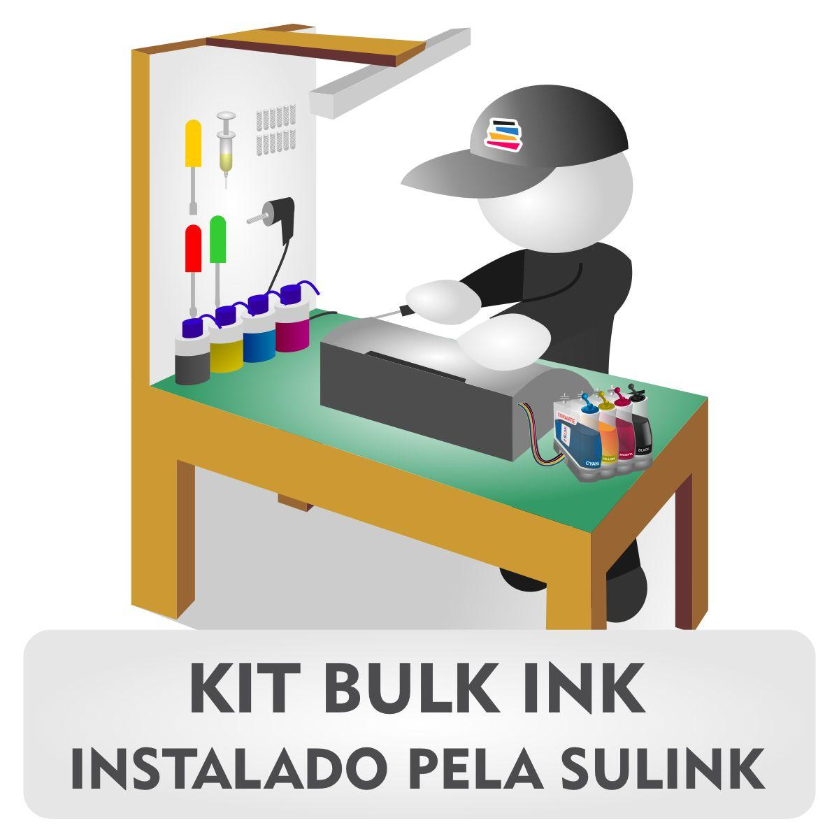 INSTALADO - Bulk Ink para HP OfficeJet 7510 Multifuncional A3 - 250ml 4 Cores Corante HP Serie Pro | Instalado pela Sulink (Sem Cartucho - Utilizar Original HP do Cliente)