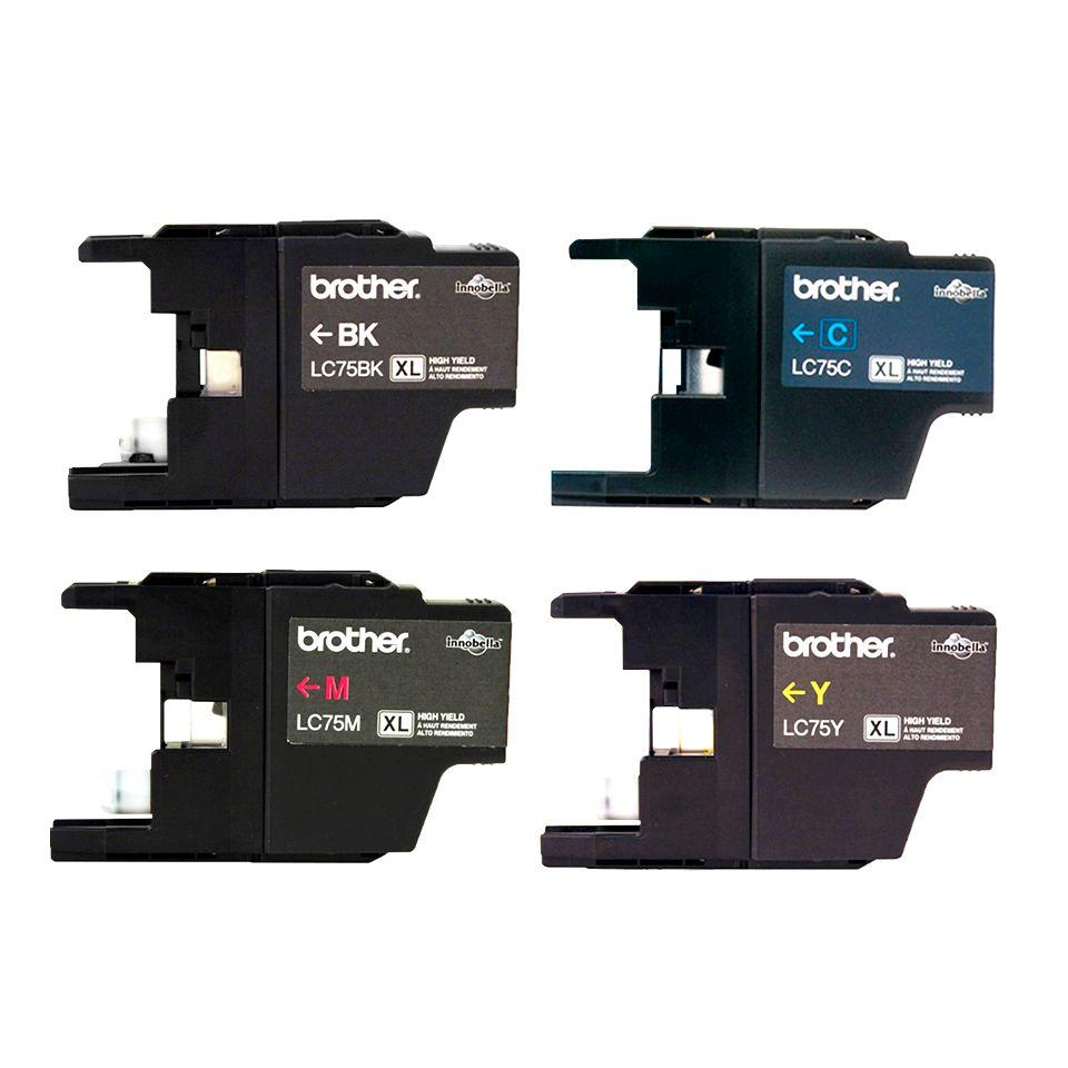 Kit Cartucho Original Brother - 4 Cores LC75BK, LC75Y, LC75M e LC75C