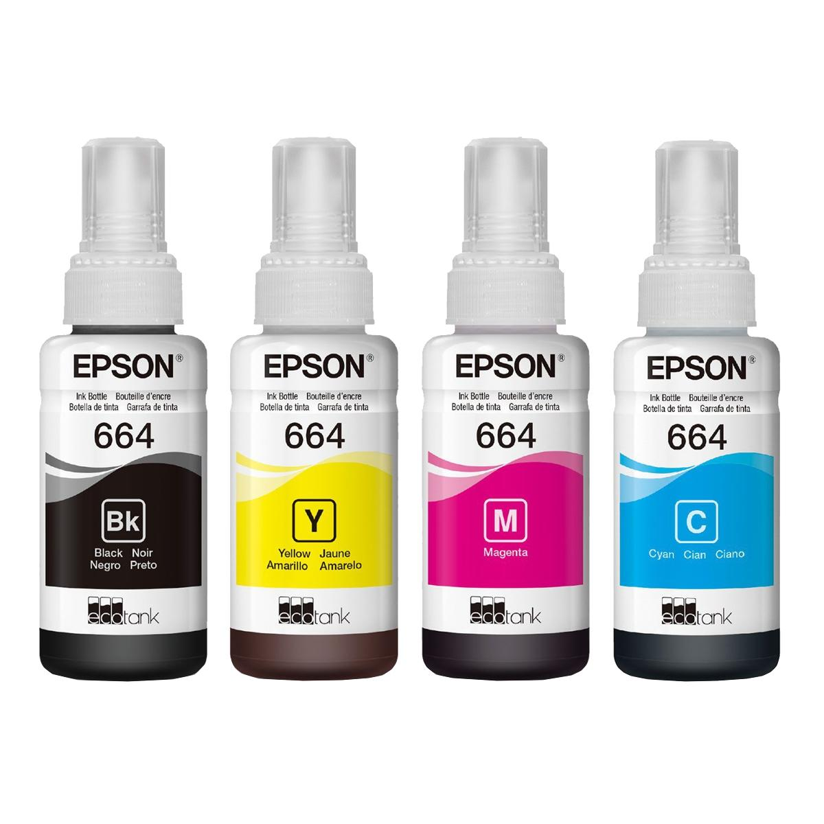 Kit Refil de Tinta Original Epson 4 Cores 664 70ml - L110 L120 L200 L210 L220 L355 L365 L375 L380 L395 L396 L455 L495 L555 e Similares