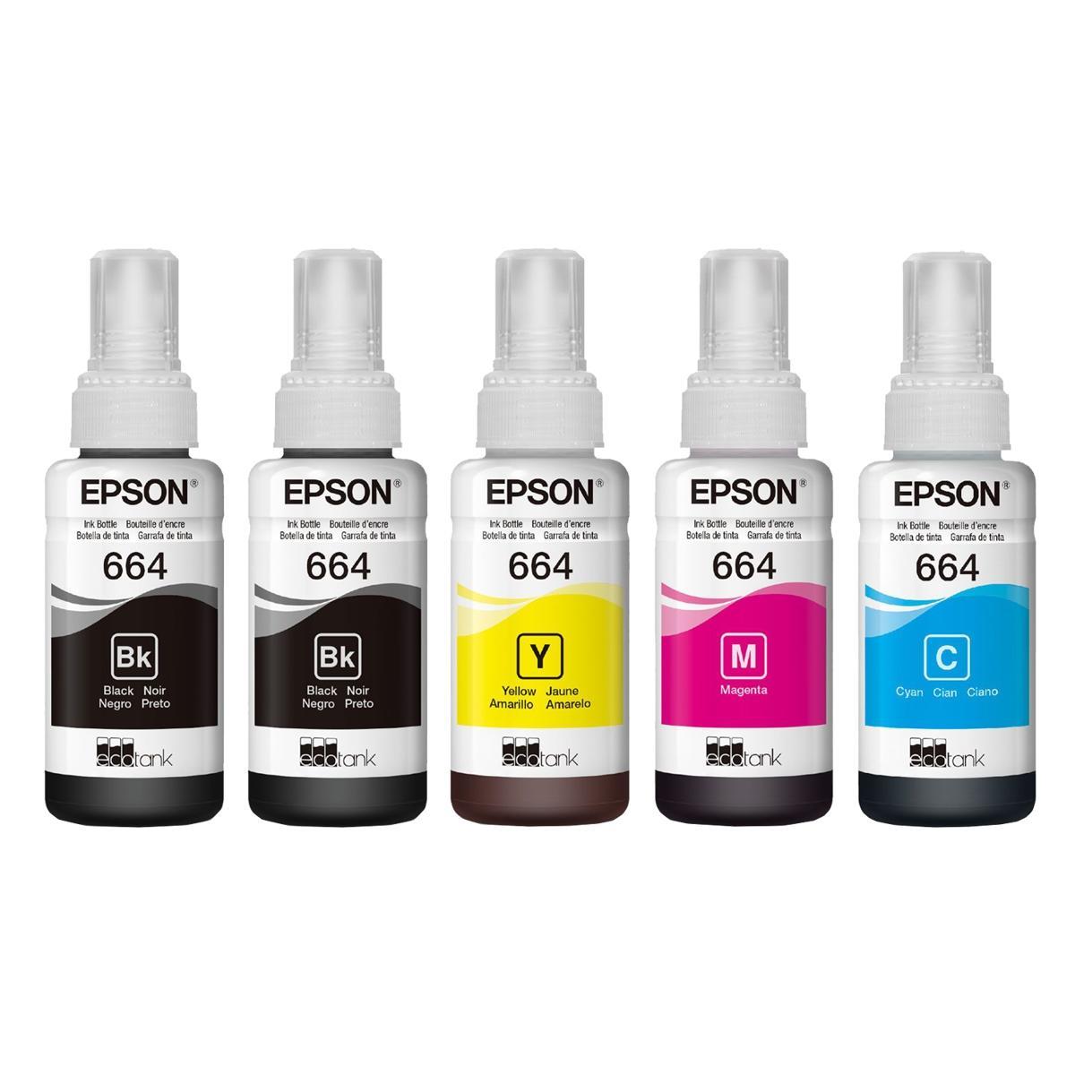 Kit Refil de Tinta Original Epson 5 Cores para Epson L1300