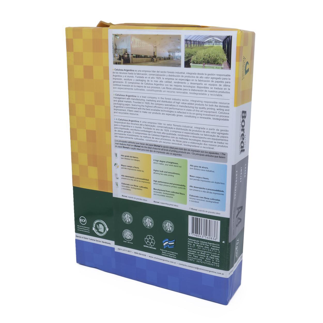 Papel Sulfite A4 Branco | Boreal 75g/m² - Resma 500 Folhas